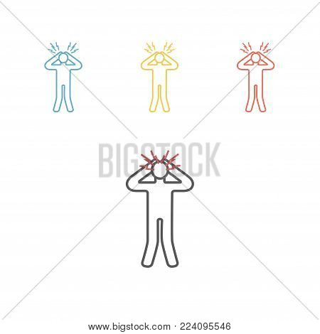 Man get confused. Panic disorder line icon Vector signs for web graphics.