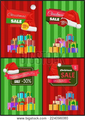 Christmas price reduction advertisement banners with boxes tied with ribbons and bows, and red Santa hats vector illustrations on striped background.