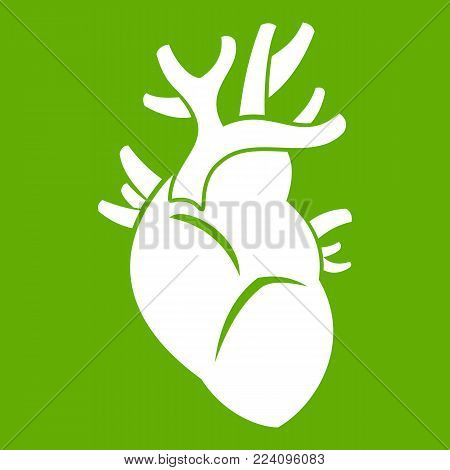 Heart icon white isolated on green background. Vector illustration