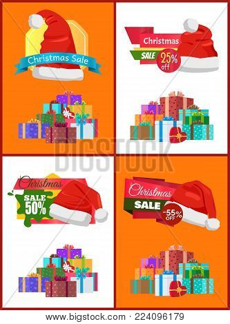 Big winter holiday discount for Christmas promotional posters with Santa hats and gift boxes with bows in heaps cartoon vector illustrations set.