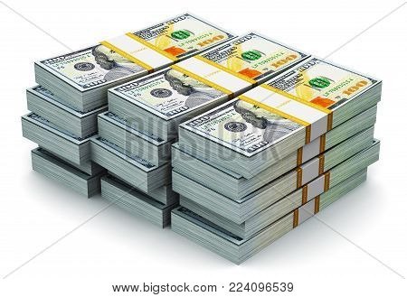 3D render illustration of the stacks of new 100 US dollar 2013 edition banknotes or bills isolated on white background