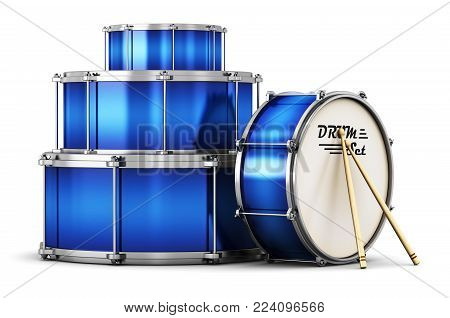 3D render illustration of the blue drum set with pair of drumsticks isolated on white background