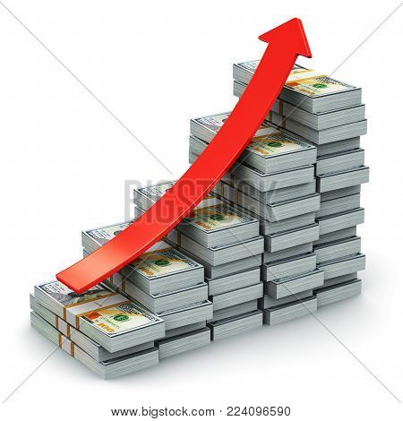 3D render illustration of the growing bar graph from the stacks of new 100 US dollar 2013 edition banknotes or bills with red arrow isolated on white background