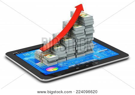 3D render illustration of the growing bar graph from the stacks of US dollar banknotes with red arrow on tablet computer PC with stock exchange market application on screen isolated on white background