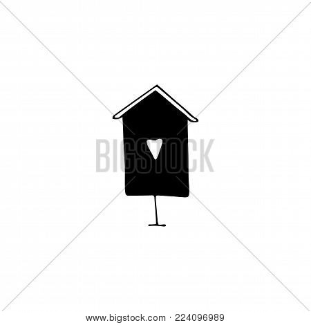 Vector hand drawn objects, bird house. Feminine logo element, romantic clipart. For business branding and identity. Black on white isolated symbol.