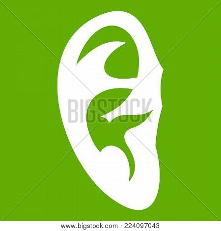 Ear icon white isolated on green background. Vector illustration