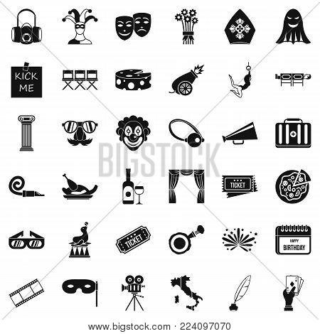 Dramatization icons set. Simple set of 36 dramatization vector icons for web isolated on white background