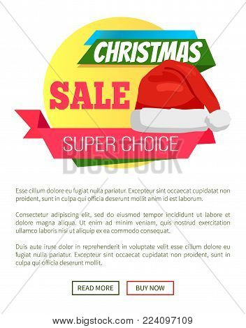 Super choice Christmas sale promo label Santa Claus hat, ribbon with text on background of geometric elements advertisement badge on online poster