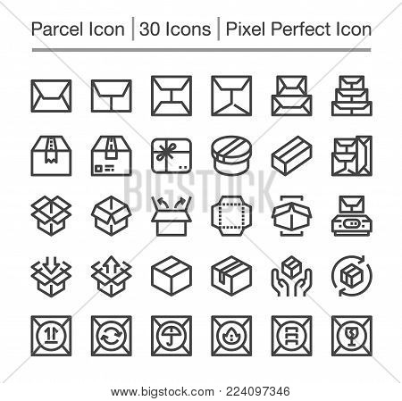 parcel and package line icon set vector illustration