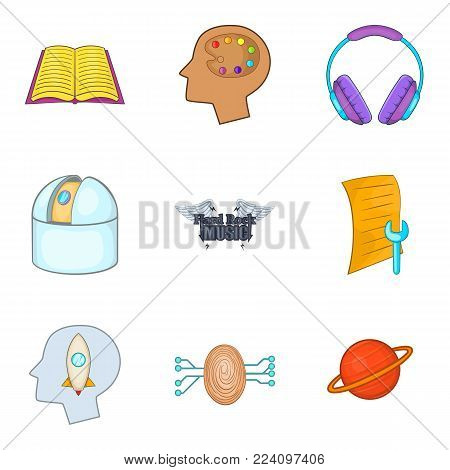 Human intelligence icons set. Cartoon set of 9 human intelligence vector icons for web isolated on white background
