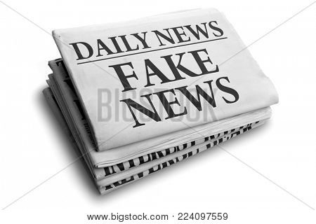 Daily news newspaper headline reading fake news concept for false event news headline