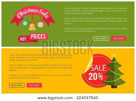 Hot prices Christmas sale 20 buy now posters vector illustration with promotion text, red sticker and ribbon, Christmas tree with toys push-buttons