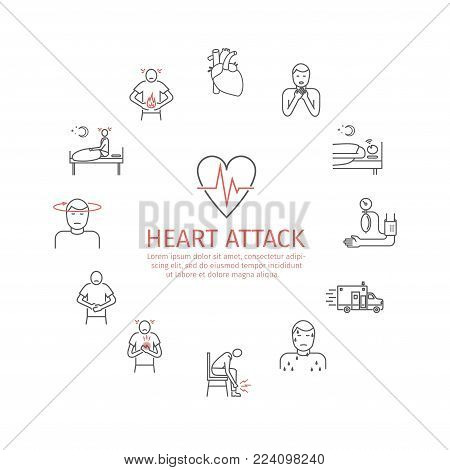 Heart Attack. Symptoms. Line icons set. Vector signs for web graphics.