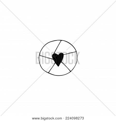 Vector hand drawn object, camera shutter silhouette. Wedding photography logo element, romantic clipart. For photographer, photography studio branding, shop or school. Black on white isolated symbol.