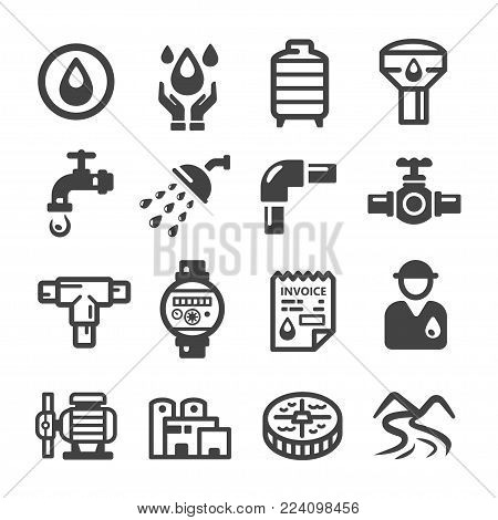 water plumbing system icon set vector illustration