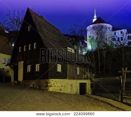 Illuminated fortress at night in Bautzen in the federal state of Saxony in Germany