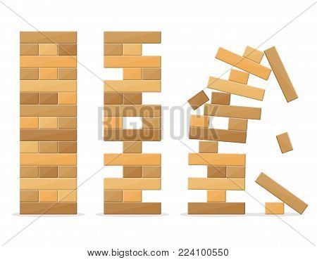 Tower games for kids and adults on white background. Wooden block stack balance risk puzzle toy. Tower balance game. Take and put process. Gambling placing block stack on a tower. Vector illustration