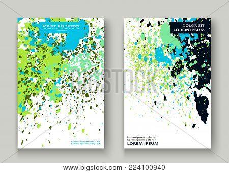 Neon Cyan Greenery Explosion Paint Splatter Artistic Cover Design. Decorative Dust Splash Gradient T