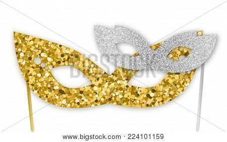Mardi Gras gold and silver glitter masks isolated on white background, vector illustration. Mardi Gras, Purim realistic sparkling mask, graphic design elements for Mardi Gras banners, flyers, Purim party invitations. Purim or Mardi Gras carnival graphic d