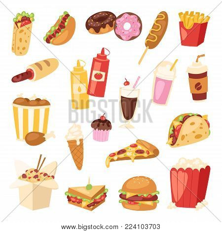 Fast food vector nutrition american hamburger or cheeseburger unhealthy eating concept junk fast-food snacks burger or sandwich and soda drink illustration isolated on background.