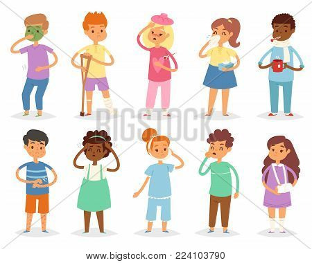 Sick kids vector child with headache and temperature and children catching a cold or flu illustration set of sickness or illness isolated on white background.