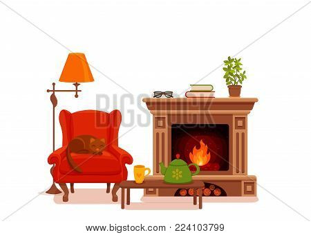 Colorful vector cozy interior warm bright winter illustration in cartoon flat style. Fireplace, armchair, floor lamp, cat, cup,  teapot, table, potted plant. Home inside living room design element