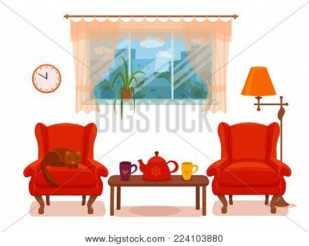 Colorful vector cozy interior illustration in cartoon flat style. Window with curtains, armchair, floor lamp, cat, cup,  teapot, table, potted plant. Home inside living room design element