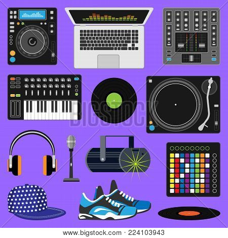DJ music vector discjockey playing disco on turntable sound record set with headphones and players audio equipment for playback vinyl discs in nightclub isolated on background.