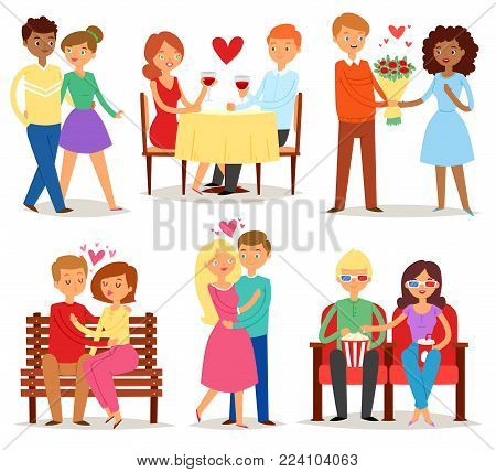 Couple in love vector lovers characters in lovely relationships on loving date together on Valentines day and boyfriend kissing loved girlfriend illustration hearted set isolated on white background.