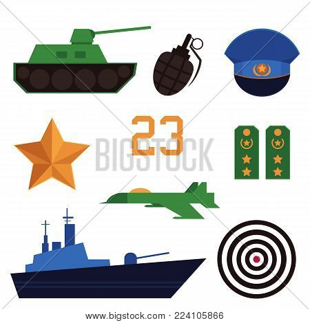 Set of flat army, military objects, Russian Defender of Fatherland Day holiday icons - tank, battleship, airplane, grenade, cap, straps, target, star, vector illustration isolated on white background