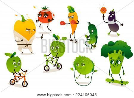 Set of funny vegetables doing sport, cartoon vector illustration isolated on white background. Pepper, tomato, broccoli, apple, carrot, cucumber, cabbage, eggplant characters doing sport exercises