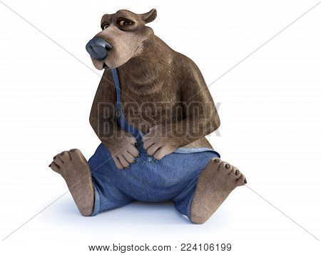 3D rendering of a charming smiling cartoon bear sitting on the floor and looking a bit coy. White background.