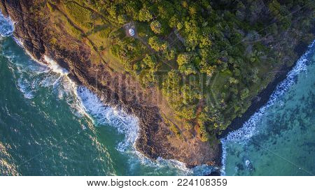 Aerial view over Fingal Head light house and Giants Causeway, NSW Australia. Top down view over the causeway