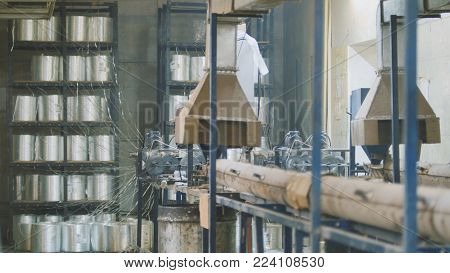 Plant for producing fiberglass rods - manufacture of composite reinforcement - fiberglass in reels slider shot