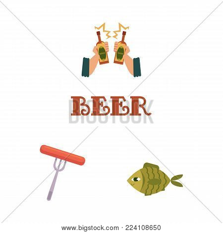 vector flat beer symbols set. Man hands holding golden lager cool beer glass bottle toasting, sausage on fork, dried fish, beer inscription. Ready for design isolated illustration, white background.