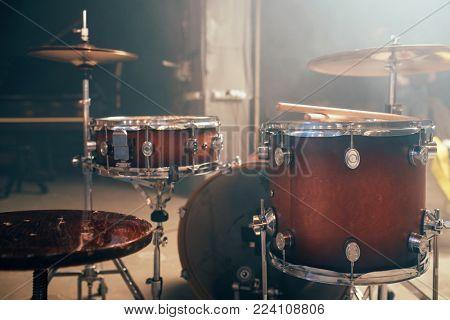 Drum-kit, drum-set, percussion instrument, nobody
