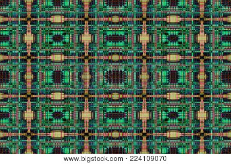 An abstract green and yellow grid pattern