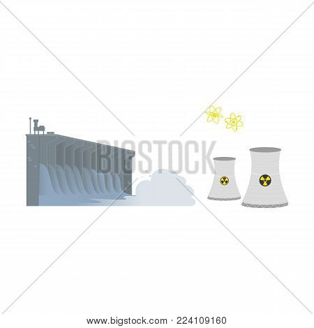 Hydroelectric dam and nuclear power production plant, renewable and non-renewable energy sources, flat vector illustration isolated on white background. Hydroelectricity and nuclear power energy sources