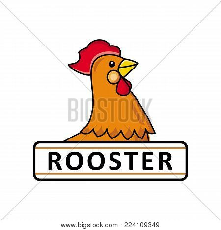Farm food logo, icon design with side -view portrait of chicken, rooster and place for text, hand-drawn vector illustration isolated on white background. Chicken, rooster, hen logo template