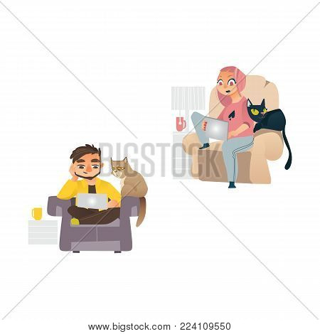 Vector cartoon people working from home, remote, freelance work . Young man, girl sitting at armchair with laptop at knees typing with cat pet sleeping near. Isolated illustration, white background