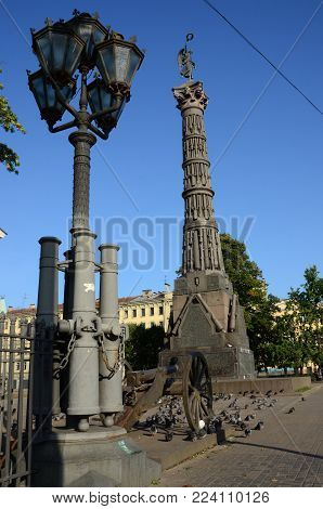 A view of the Column of Glory in St. Petersburg
