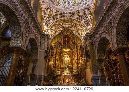 SEVILLE, ANDALUSIA, SPAIN, MAY, 25, 2017 : interiors  of  santa maria la blanca church, may 25, 2017, in Seville, andalusia, spain