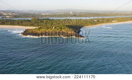 Aerial view over Fingal Head light house and Giants Causeway, NSW Australia.