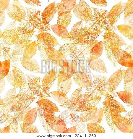 A seamless pattern of golden toned watercolor leaves silhouettes on white background, autumnal repeat print