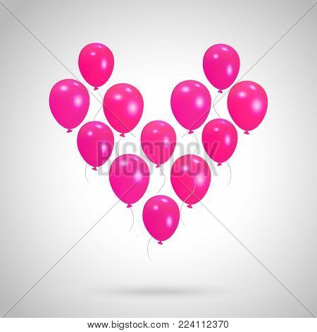 Vector background with heart from helium balloons Valentine's day design