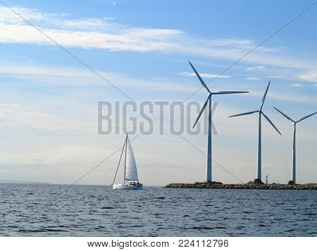 Wind Turbines Power Generator Farm In Sea