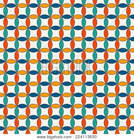 Seamless Pattern With Vertical Braid Ornament. Octagons Tile Background. Herringbone Motif. Geometri