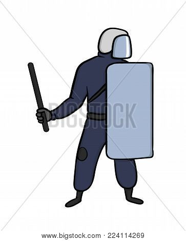 Policeman with helmet, shield and baton on street protests. Vector illustration, isolated on white background.