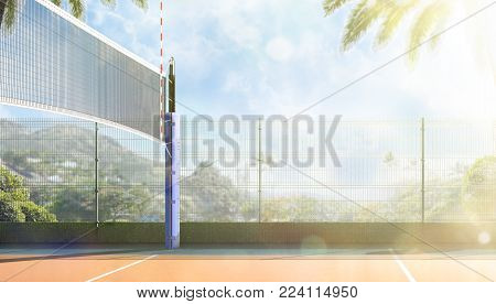 Empty professional open air volleyball court no players sunny day