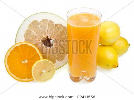 fresh citrus juice isolated on the white background poster